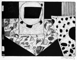 Denzil H. Hurley (American, born Barbados, 1949). <em>Other Places #2</em>, 1977. Engraving, drypoint, etching and sugarlift, Sheet: 16 1/16 x 22 in. (40.8 x 55.9 cm). Brooklyn Museum, Designated Purchase Fund, 78.233.1. © artist or artist's estate (Photo: Brooklyn Museum, 78.233.1_bw.jpg)