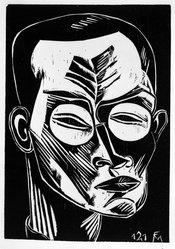 Conrad Felixmüller (German, 1897-1977). <em>Self-Portrait</em>, 1921. Woodcut on wove paper, image: 24 1/8 x 17 in. (61.2 x 43.2 cm). Brooklyn Museum, Designated Purchase Fund, 78.24. © artist or artist's estate (Photo: Brooklyn Museum, 78.24_bw.jpg)