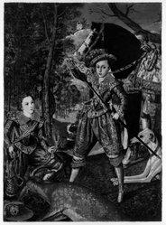John Clem Clarke (American, born 1937). <em>Henry Frederick, Prince of Wales and Sir John Harington</em>, 1972. oil on canvas, 75 x 56 in. (190.5 x 142.2 cm). Brooklyn Museum, Gift of Marilynn and Ivan C. Karp, 78.268. © artist or artist's estate (Photo: Brooklyn Museum, 78.268_bw.jpg)