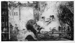 Peter W. Milton (American, born 1930). <em>Before the Hunt</em>, 1978. Copperplate etching, sheet: 27 1/2 x 42 1/2 in.  (69.9 x 108.0 cm);. Brooklyn Museum, Gift of Stephen Andrus, 78.271.6. © artist or artist's estate (Photo: Brooklyn Museum, 78.271.6_bw.jpg)
