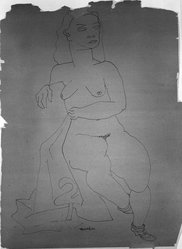 Louise Nevelson (American, born Russia, 1899-1988). <em>Untitled (Seated Female Nude with Shoes and Robe)</em>, ca. 1932-1935. Ink on paper, sheet: 23 5/16 x 17 1/4 in. (59.2 x 43.8 cm). Brooklyn Museum, Gift of Samuel Goldberg in memory of his parents, Sophie and Jacob Goldberg, and his brother, Hyman Goldberg, 78.277.10. © artist or artist's estate (Photo: Brooklyn Museum, 78.277.10_bw.jpg)