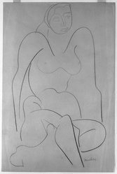 Louise Nevelson (American, born Russia, 1899-1988). <em>Untitled (Seated Female, Frontal View)</em>, ca. 1932-1935. Crayon on paper, sheet: 17 7/8 x 11 15/16 in. (45.4 x 30.3 cm). Brooklyn Museum, Gift of Samuel Goldberg in memory of his parents, Sophie and Jacob Goldberg, and his brother, Hyman Goldberg, 78.277.3. © artist or artist's estate (Photo: Brooklyn Museum, 78.277.3_bw_IMLS.jpg)