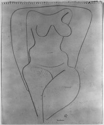 Louise Nevelson (American, born Russia, 1899-1988). <em>Untitled (Female, Frontal View from Knees to Shoulders)</em>, ca. 1932-1935. Graphite on paper, sheet: 11 15/16 x 9 7/8 in. (30.3 x 25.1 cm). Brooklyn Museum, Gift of Samuel Goldberg in memory of his parents, Sophie and Jacob Goldberg, and his brother, Hyman Goldberg, 78.277.5. © artist or artist's estate (Photo: Brooklyn Museum, 78.277.5_bw_IMLS.jpg)