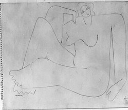 Louise Nevelson (American, born Russia, 1899-1988). <em>[Untitled] (Female Figure Sitting on Floor)</em>, ca. 1932-1935. Graphite on paper torn from spiral notebook, sheet: 9 7/8 x 11 7/8 in. (25.1 x 30.2 cm). Brooklyn Museum, Gift of Samuel Goldberg in memory of his parents, Sophie and Jacob Goldberg, and his brother, Hyman Goldberg, 78.277.6. © artist or artist's estate (Photo: Brooklyn Museum, 78.277.6_bw.jpg)
