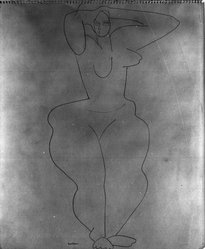 Louise Nevelson (American, born Russia, 1899-1988). <em>Untitled (Standing Female Nude with Robe)</em>, ca. 1932-1935. Ink on white wove paper, sheet: 16 x 10 7/16 in. (40.6 x 26.5 cm). Brooklyn Museum, Gift of Samuel Goldberg in memory of his parents, Sophie and Jacob Goldberg, and his brother, Hyman Goldberg, 78.277.7. © artist or artist's estate (Photo: Brooklyn Museum, 78.277.7_bw.jpg)