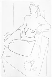 Louise Nevelson (American, born Russia, 1899-1988). <em>Untitled (Female Nude Sitting on a Platform)</em>, ca. 1932-1935. Ink on wove paper, sheet: 15 15/16 x 10 7/16 in. (40.5 x 26.5 cm). Brooklyn Museum, Gift of Samuel Goldberg in memory of his parents, Sophie and Jacob Goldberg, and his brother, Hyman Goldberg, 78.277.8. © artist or artist's estate (Photo: Brooklyn Museum, 78.277.8_bw.jpg)