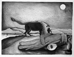 Pat Angle (American, born 1951). <em>Sleeping Saguaro on a Henri Rousseau Desert</em>, February 1976. Hand colored lithograph on paper, Image: 17 1/8 x 22 3/4 in. (43.5 x 57.8 cm). Brooklyn Museum, Designated Purchase Fund, 78.27. © artist or artist's estate (Photo: Brooklyn Museum, 78.27_bw.jpg)