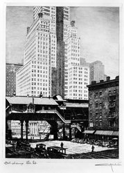 Otto Kuhler (American, 1894-1976). <em>Third Avenue El at 42nd Street</em>, ca. 1928. Etching on laid paper, Sheet: 16 13/16 x 12 1/16 in. (42.7 x 30.6 cm). Brooklyn Museum, Designated Purchase Fund, 78.28. © artist or artist's estate (Photo: Brooklyn Museum, 78.28_bw.jpg)