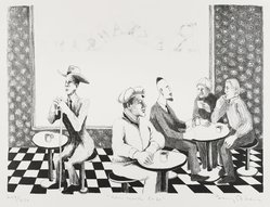 Benny Andrews (American, 1930-2006). <em>New York Cafe</em>, 1966. Lithograph on paper, Image: 10 1/2 x 14 1/4 in. (26.7 x 36.2 cm). Brooklyn Museum, Manufacturer's Hanover Trust Purchase Fund, 79.114.1. © artist or artist's estate (Photo: Brooklyn Museum, 79.114.1_PS4.jpg)