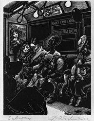 Fritz Eichenberg (American, 1901-1990). <em>Subway</em>, 1934. Wood engraving on cream-colored wove paper, sheet: 11 7/8 x 8 7/8 in.  (30.2 x 22.5 cm);. Brooklyn Museum, Manufacturer's Hanover Trust Purchase Fund, 79.114.3. © artist or artist's estate (Photo: Brooklyn Museum, 79.114.3_bw_SL1.jpg)