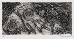 Gary Hansmann (American, born 1940). <em>Ghost Dancer</em>, 1975. Collograph on copper plate, Sheet: 8 1/4 x 12 9/16 in. (21 x 31.9 cm). Brooklyn Museum, Gift of the artist, 79.140.1. © artist or artist's estate (Photo: Brooklyn Museum, 79.140.1_PS4.jpg)