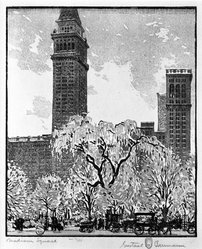 Gustave Baumann (American, 1881-1971). <em>Madison Square</em>, 1917. Woodcut in color Brooklyn Museum, Gift of Manufacturers Hanover, 79.159. © artist or artist's estate (Photo: Brooklyn Museum, 79.159_bw.jpg)