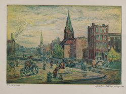 Mortimer Borne (American, born Poland, 1902-1987). <em>Hicks Street - Brooklyn</em>, 1940. Drypoint on cream-colored wove paper, Sheet: 4 1/2 x 5 3/16 in. (11.5 x 13.3 cm). Brooklyn Museum, Anonymous gift, 79.19.3. © artist or artist's estate (Photo: Brooklyn Museum, 79.19.3_PS4.jpg)