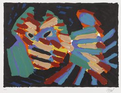 Karel Appel (Dutch, 1921-2006). <em>Fighting Cat</em>, 1978. Lithograph on paper, Sheet: 24 3/4 x 32 1/4 in. (62.9 x 81.9 cm). Brooklyn Museum, Gift of Donald Waggoner, 79.222.13. © artist or artist's estate (Photo: Brooklyn Museum, 79.222.13_PS9.jpg)