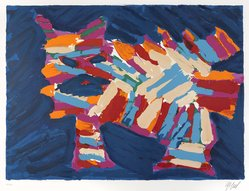 Karel Appel (Dutch, 1921-2006). <em>Blue Cat</em>, 1978. Lithograph on paper, Sheet: 24 3/4 x 32 1/4 in. (62.9 x 81.9 cm). Brooklyn Museum, Gift of Donald Waggoner, 79.222.14. © artist or artist's estate (Photo: Brooklyn Museum, 79.222.14_PS9.jpg)
