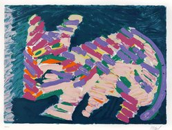 Karel Appel (Dutch, 1921-2006). <em>Resting Cat</em>, 1978. Lithograph on paper, Sheet: 24 3/4 x 32 1/4 in. (62.9 x 81.9 cm). Brooklyn Museum, Gift of Donald Waggoner, 79.222.1. © artist or artist's estate (Photo: Brooklyn Museum, 79.222.1_PS9.jpg)