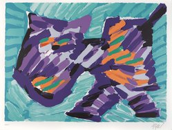 Karel Appel (Dutch, 1921-2006). <em>Walking Cat</em>, 1978. Lithograph on paper, Sheet: 24 3/4 x 32 1/4 in. (62.9 x 81.9 cm). Brooklyn Museum, Gift of Donald Waggoner, 79.222.2. © artist or artist's estate (Photo: Brooklyn Museum, 79.222.2_PS9.jpg)