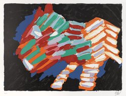 Karel Appel (Dutch, 1921-2006). <em>Cat in the Night</em>, 1978. Lithograph on paper, Sheet: 24 3/4 x 32 1/4 in. (62.9 x 81.9 cm). Brooklyn Museum, Gift of Donald Waggoner, 79.222.3. © artist or artist's estate (Photo: Brooklyn Museum, 79.222.3_PS9.jpg)