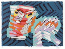 Karel Appel (Dutch, 1921-2006). <em>Sad Cat</em>, 1978. Lithograph on paper, Sheet: 24 3/4 x 32 1/4 in. (62.9 x 81.9 cm). Brooklyn Museum, Gift of Donald Waggoner, 79.222.4. © artist or artist's estate (Photo: Brooklyn Museum, 79.222.4_PS9.jpg)