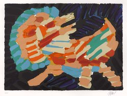 Karel Appel (Dutch, 1921-2006). <em>Smiling Cat</em>, 1978. Lithograph on paper, Sheet: 24 3/4 x 32 1/4 in. (62.9 x 81.9 cm). Brooklyn Museum, Gift of Donald Waggoner, 79.222.5. © artist or artist's estate (Photo: Brooklyn Museum, 79.222.5_PS9.jpg)