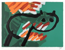 Karel Appel (Dutch, 1921-2006). <em>Green Cat</em>, 1978. Lithograph on paper, Sheet: 24 3/4 x 32 1/4 in. (62.9 x 81.9 cm). Brooklyn Museum, Gift of Donald Waggoner, 79.222.6. © artist or artist's estate (Photo: Brooklyn Museum, 79.222.6_PS9.jpg)