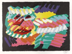 Karel Appel (Dutch, 1921-2006). <em>Pink Cat</em>, 1978. Lithograph on paper, Sheet: 24 3/4 x 32 1/4 in. (62.9 x 81.9 cm). Brooklyn Museum, Gift of Donald Waggoner, 79.222.7. © artist or artist's estate (Photo: Brooklyn Museum, 79.222.7_PS9.jpg)