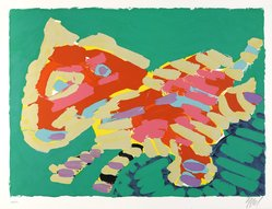 Karel Appel (Dutch, 1921-2006). <em>Luminous cat</em>, 1978. Lithograph on paper, Sheet: 24 3/4 x 32 1/4 in. (62.9 x 81.9 cm). Brooklyn Museum, Gift of Donald Waggoner, 79.222.8. © artist or artist's estate (Photo: Brooklyn Museum, 79.222.8_PS9.jpg)