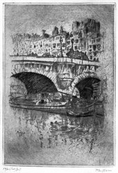 John Marin (American, 1870-1953). <em>Le Pont Neuf</em>, 1905. Etching on Japan paper, Plate: 7 3/4 x 5 3/8 in. (19.7 x 13.6 cm). Brooklyn Museum, Designated Purchase Fund, 79.234. © artist or artist's estate (Photo: Brooklyn Museum, 79.234_bw.jpg)