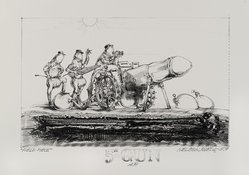"Robert A. Nelson (American, born 1925). <em>5"" Gun</em>, 1979. Lithograph on paper, sheet: 10 3/4 x 15 1/2 in. (27.3 x 39.4 cm). Brooklyn Museum, Gift of Stephen Andrus, 79.292.20. © artist or artist's estate (Photo: Brooklyn Museum, 79.292.20_PS4.jpg)"