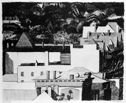 Linda Plotkin (American, born 1938). <em>Hillside Village</em>, 1976. Lithograph on paper, sheet: 22 1/8 x 30 in. (56.2 x 76.2 cm). Brooklyn Museum, Gift of Stephen Andrus, 79.292.25. © artist or artist's estate (Photo: Brooklyn Museum, 79.292.25_bw.jpg)