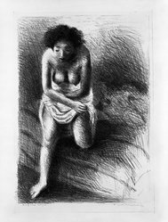 Raphael Soyer (American, born Russia, 1899-1987). <em>Figure Composition</em>, ca. 1933. Lithograph on paper, sheet: 22 7/8 x 16 in. (58.1 x 40.6 cm). Brooklyn Museum, Gift of Samuel Goldberg in memory of his parents, Sophie and Jacob Goldberg, and his brother, Hyman Goldberg, 79.299.11. © artist or artist's estate (Photo: Brooklyn Museum, 79.299.11_bw.jpg)