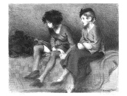 Raphael Soyer (American, born Russia, 1899-1987). <em>Two Girls</em>, 1934. Lithograph on paper, Sheet: 13 x 15 5/8 in. (33 x 39.7 cm). Brooklyn Museum, Gift of Samuel Goldberg in memory of his parents, Sophie and Jacob Goldberg, and his brother, Hyman Goldberg, 79.299.12. © artist or artist's estate (Photo: Brooklyn Museum, 79.299.12_bw.jpg)