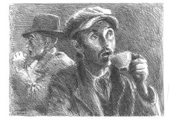 Raphael Soyer (American, born Russia, 1899-1987). <em>Man Eating</em>, ca. 1937. Lithograph on paper, sheet: 11 7/16 x 15 15/16 in. (29.1 x 40.5 cm). Brooklyn Museum, Gift of Samuel Goldberg in memory of his parents, Sophie and Jacob Goldberg, and his brother, Hyman Goldberg, 79.299.14. © artist or artist's estate (Photo: Brooklyn Museum, 79.299.14_bw.jpg)