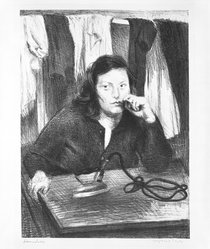 Raphael Soyer (American, born Russia, 1899-1987). <em>Laundress</em>, ca. 1941-1942. Lithograph on paper, sheet: 23 3/4 x 16 in. (60.3 x 40.6 cm). Brooklyn Museum, Gift of Samuel Goldberg in memory of his parents, Sophie and Jacob Goldberg, and his brother, Hyman Goldberg, 79.299.15. © artist or artist's estate (Photo: Brooklyn Museum, 79.299.15_bw.jpg)