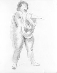 Raphael Soyer (American, born Russia, 1899-1987). <em>Untitled</em>, n.d. Graphite on paper, Sheet: 16 3/4 x 13 15/16 in. (42.5 x 35.4 cm). Brooklyn Museum, Gift of Samuel Goldberg in memory of his parents, Sophie and Jacob Goldberg, and his brother, Hyman Goldberg, 79.299.16. © artist or artist's estate (Photo: Brooklyn Museum, 79.299.16_bw.jpg)
