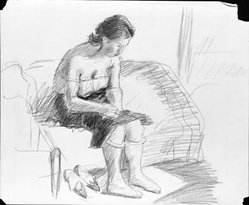 Raphael Soyer (American, born Russia, 1899-1987). <em>Untitled</em>, ca. 1930s. Graphite on paper, Sheet: 14 x 16 7/8 in. (35.6 x 42.9 cm). Brooklyn Museum, Gift of Samuel Goldberg in memory of his parents, Sophie and Jacob Goldberg, and his brother, Hyman Goldberg, 79.299.17. © artist or artist's estate (Photo: Brooklyn Museum, 79.299.17_bw.jpg)