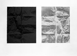 Freddie Fong (American, born China, 1952). <em>Black and Newsprint Grey</em>, 1977. Lithograph on two sheets, Large Sheet: 22 3/8 x 30 in. (56.8 x 76.2 cm). Brooklyn Museum, Gift of ADI Gallery, 79.37.7. © artist or artist's estate (Photo: Brooklyn Museum, 79.37.7_bw.jpg)