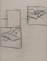 Hans Hofmann (American, 1880-1966). <em>[Untitled] (Lecture Drawing) (Study of a Plane in Space)</em>, 1942. Charcoal on ivory, Ingres d'Arches laid paper, sheet: 25 x 19 in. (63.5 x 48.3 cm). Brooklyn Museum, Gift of Jerome Burns, 79.38.1. © artist or artist's estate (Photo: Brooklyn Museum, 79.38.1.jpg)
