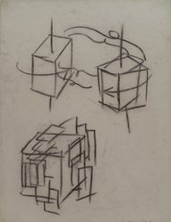 Hans Hofmann (American, 1880-1966). <em>[Untitled] (Lecture Drawing) (Study of a Cube in Space)</em>, 1942. Charcoal on ivory, Ingres d'Arches laid paper, sheet: 25 x 19 1/16 in. (63.5 x 48.4 cm). Brooklyn Museum, Gift of Jerome Burns, 79.38.2. © artist or artist's estate (Photo: Brooklyn Museum, 79.38.2.jpg)