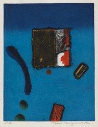 Tokio Miyashita (Japanese, 1930-2011). <em>Autumn in Blue</em>, n.d. Woodcut and intaglio on paper, sheet: 13 7/8 x 10 in. (35.2 x 25.4 cm). Brooklyn Museum, Tokyo Metropolitan Teien Art Museum, 79.55.1. © artist or artist's estate (Photo: Brooklyn Museum, 79.55.1_IMLS_PS3.jpg)