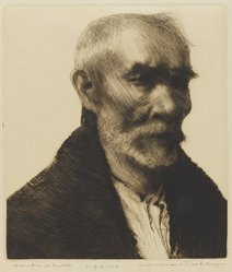 Cadwallader Washburn (American, 1866-1965). <em>Hombre De Pueblo</em>, ca. 1939-1940. Drypoint in brown-black ink on cream-colored wove paper, Sheet: 15 1/4 x 10 7/8 in. (38.8 x 27.7 cm). Brooklyn Museum, Designated Purchase Fund, 79.57.4. © artist or artist's estate (Photo: Brooklyn Museum, 79.57.4_PS4.jpg)