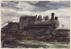 Reginald Marsh (American, 1898-1954). <em>Train</em>, 1930. Transparent and opaque watercolor over graphite on cream, thick, moderately textured wove paper, 13 15/16 x 19 15/16 in. (35.4 x 50.6 cm). Brooklyn Museum, Gift of the Estate of Felicia Meyer Marsh, 79.85.1. © artist or artist's estate (Photo: Brooklyn Museum, 79.85.1.jpg)