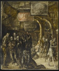Reginald Marsh (American, 1898-1954). <em>Grand Windsor Hotel (recto) / Burlesque (verso)</em>, 1946. Egg tempera on Masonite, 39 7/8 x 33 3/4 in. (101.3 x 85.7 cm). Brooklyn Museum, Gift of the Estate of Felicia Meyer Marsh, 79.85.2. © artist or artist's estate (Photo: Brooklyn Museum, 79.85.2_recto_PS2.jpg)