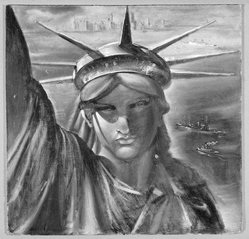 Reginald Marsh (American, 1898-1954). <em>Statue of Liberty</em>, ca. 1954. Egg tempera on masonite, 23 1/2 x 24 1/8 in. (59.7 x 61.3 cm). Brooklyn Museum, Gift of the Estate of Felicia Meyer Marsh, 79.85.3. © artist or artist's estate (Photo: Brooklyn Museum, 79.85.3_SL1.jpg)