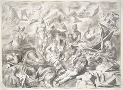 Reginald Marsh (American, 1898-1954). <em>Coney Island Beach: A Double Sided Drawing (Recto: The Artist Sketching, Verso: Acrobats)</em>, ca. 1951. Ink and ink wash on heavy wove paper, Sheet: 22 3/8 x 31 in. (56.8 x 78.7 cm). Brooklyn Museum, Bequest of Felicia Meyer Marsh, 79.99a-b. © artist or artist's estate (Photo: Brooklyn Museum, 79.99a_SL1.jpg)