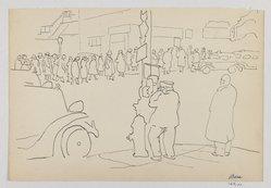 Mortimer Borne (American, born Poland, 1902-1987). <em>WPA Line Up at 42nd St.</em>, 1939. Pen and ink on paper, sheet: 6 15/16 x 10 1/4 in. (17.6 x 26 cm). Brooklyn Museum, Gift of Dr. and Mrs. Paul Flicker, 80.127.11. © artist or artist's estate (Photo: Brooklyn Museum, 80.127.11_IMLS_PS3.jpg)