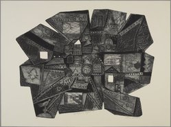 Clare Romano (American, born 1922). <em>Ljubljana Night II</em>, 1965. Collograph with photo etching on Murillo paper, 24 3/4 x 33 3/4 in. (62.8 x 85.8 cm). Brooklyn Museum, Gift of the artist, 80.138.4. © artist or artist's estate (Photo: , 80.138.4_PS9.jpg)