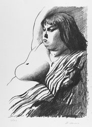 David Levine (American, 1926-2009). <em>Fat Girl</em>, 1963. Lithograph on paper, sheet: 17 5/8 x 13 1/8 in. (44.8 x 33.3 cm). Brooklyn Museum, Anonymous gift, 80.209.63. © artist or artist's estate (Photo: Brooklyn Museum, 80.209.63_PS4.jpg)