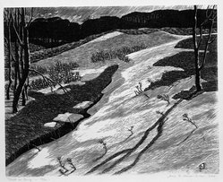 James D. Havens (American, 1900-1960). <em>Drift in Spring</em>, 1944. Woodcut, Sheet: 12 7/8 x 14 15/16 in. (32.7 x 38 cm). Brooklyn Museum, Gift of Norman and June Kraeft, 80.221. © artist or artist's estate (Photo: Brooklyn Museum, 80.221_bw.jpg)