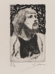 Gary Hansmann (American, born 1940). <em>Self Portrait</em>, 1978. Drypoint and etching, Sheet: 8 x 5 7/8 in. (20.3 x 14.9 cm). Brooklyn Museum, Designated Purchase Fund, 80.28.1. © artist or artist's estate (Photo: Brooklyn Museum, 80.28.1_PS4.jpg)